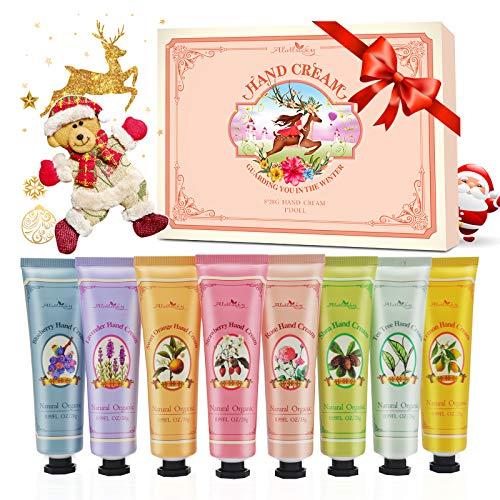 Alotlucky Set de regalo de crema de manos, crema de manos de tamaño de viaje con manteca de karité, aloe natural, vitamina E, hidratante para manos y pies secos, el mejor regalo para mujere