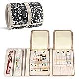 Teamoy Roll para Joyería Organizador de joyas Estuche de viaje para collares, pendientes, pulseras, broches, 3 carpetas, varios departamentos, mundo de animales