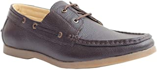 YZBuyer Brown Milled Leather Casual Shoes for Style & All Day Comfort