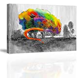 Graffiti Kids Wall Art for Children's Bedroom, PIY Imaginative Naughty Boy Dye The Trees to Colorful Canvas Painting Prints, Funny Child Drawing Picture (Waterproof Artwork, 12x16)
