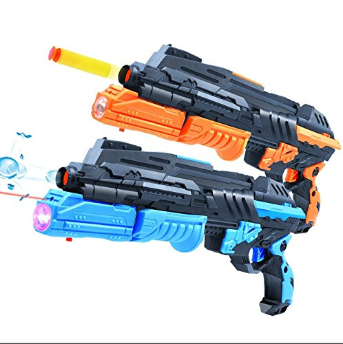 LEFN Double Shooting Toy Guns,Super Cool 2-In-1 1PCS Soft Bullet and 1000PCS Soak Crystal Bullet Toy Handgun,Foam Dart Detective Pistol Toy for Kids Holiday Birthday Presents,Foam fighting toy