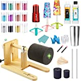 Cup Turner for Crafts Tumbler Cup Spinner Machine Kit, Wood Cuptisserie Turner DIY Glitter Epoxy Tumblers with Silent UL Motor 2 Foams (Turner&6.8oz Epoxy Resin)