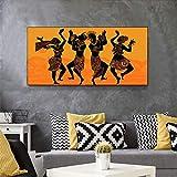 Cuadro de la lona Mujeres Africanas Hombres Danza Siluetas Carteles Y Estampados Danza de los Papuanos Arte de la pared Cuadros Salón Decoración-70x140cm Sin marco