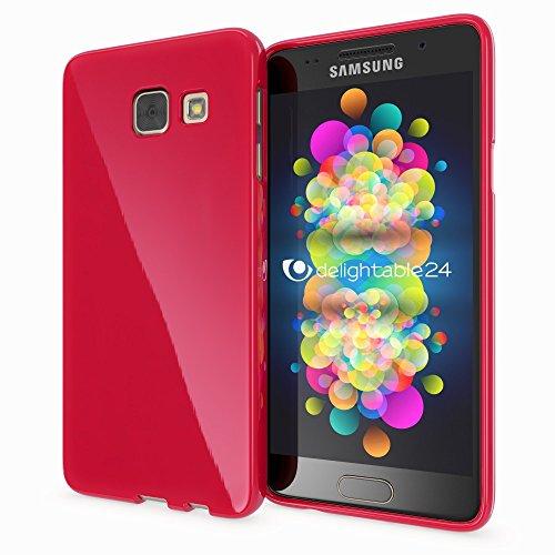 NALIA Handyhülle kompatibel mit Samsung Galaxy A5 2017, Ultra-Slim TPU Silikon Jelly Case Hülle, Dünne Gummi Schutzhülle Skin, Etui Handy-Tasche Telefon-Schale Back-Cover Smart-Phone Bumper - Rot