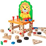 KIDWILL Wooden Building Set, Cute Lion Wooden Chair Models Construction Play Set with Nuts Bolts and Tools, Educational Building Toy for 3 Years Old and Up