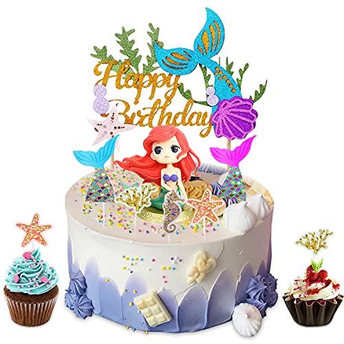 YISKY Mermaid Cake Topper, 32 Pezzi Glitter Mermaid Topper, Oceano Toppers Torta, Compleanno Festa Topper Decorativi, Personalizzato Cake Topper, per Matrimonio, Festa di Compleanno e Baby Shower