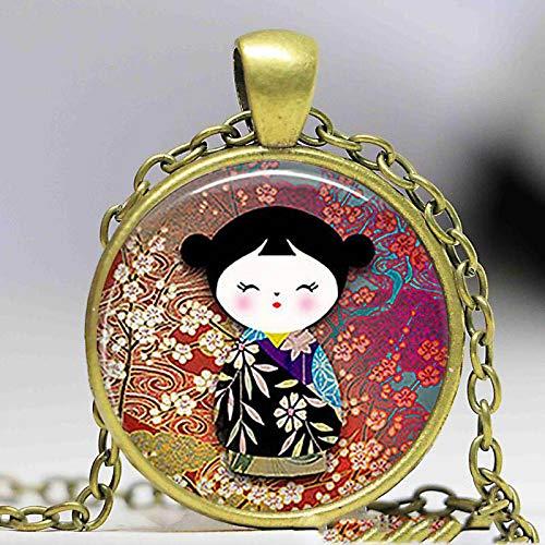 Süße japanische Kokeshi-Puppen-Halskette mit Anhänger, Modeschmuck, Burgunderrot, Wein, ethnische Puppe, Charm, Damen, Mädchen, Geburtstags- oder Weihnachtsgeschenk