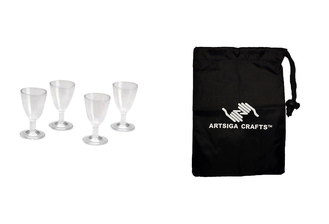 唇証明メーカーDariceドールハウスTimelessミニチュアワイングラス4枚( 3パック) 2314?48?1バンドルartsiga Crafts Smallバッグ