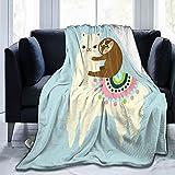 Delerain Alpaca Llama Sloth Flannel Fleece Throw Blanket 50'x60' Living Room/Bedroom/Sofa Couch Warm Soft Bed Blanket for Kids Adults All Season