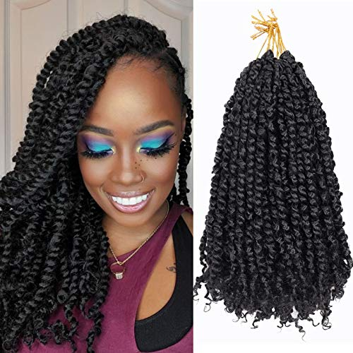 8 Packs Pre-twisted Passion Twist Crochet Hair 12 Inch Pre-looped Passion Twist Bohemian Curly Braids Synthetic Braiding Hair Extensions 12 Strands/pack (#1B)