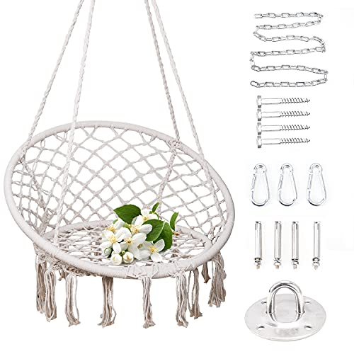 Supkitdin Hammock Chair with Durable Hanging Hardware Kit, Handmade Knitted Mesh Rope Swing Chair for Indoor, Outdoor, Home, Bedroom, Patio, Yard,Deck, Garden(Max 330 Lbs)