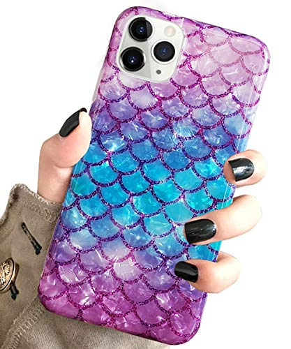 J.west iPhone 11 Pro Max Case Luxury Sparkle Bling Translucent Cute Mermaid Scale Print Soft Silicone Phone Cover for Girls Women Slim Fashion Pattern Design Protective Case for Apple 11 Pro Max 6.5