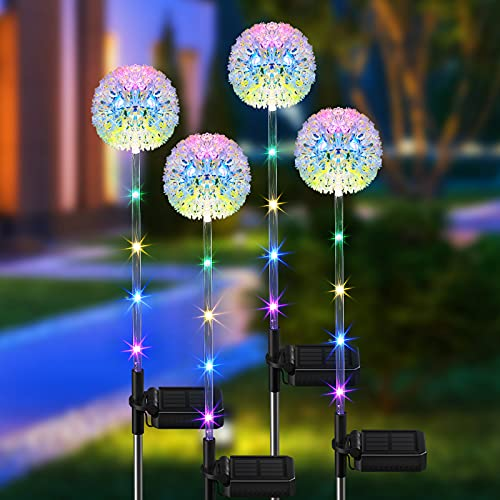 Solar Lights Outdoor Decorative, BONLION 4 Pack Solar Dandelion Garden Lights with Colorful String Lights, Upgraded Waterproof Solar Decoration for Garden, Patio, Yard, Landscape Decor