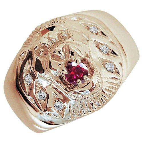 [プレジュール]ライオン ルビー メンズ K18ピンクゴールド 指輪 アニマルリング リングサイズ22号