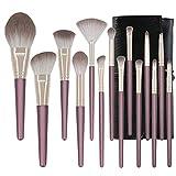 Mosumi Juego de 10 brochas de maquillaje profesional para colorete, base, cejas, nariz, labios, polvo, cosméticos con una bolsa para cepillos (morado)