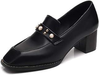 BalaMasa Womens Studded Beaded Casual Urethane Pumps Shoes APL10708