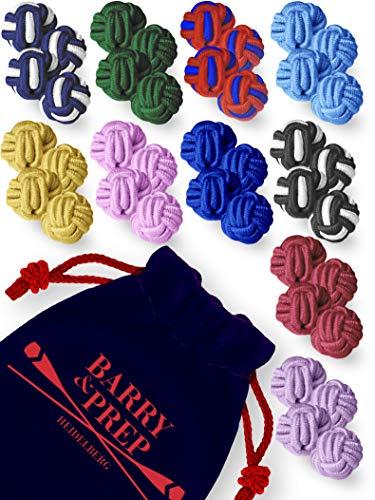 10er Set beliebter Farben   Seidenknoten Manschettenknöpfe   Stoff Knoten Cufflinks für Hemden mit Manschetten   Damen Herren   einfarbig zweifarbig
