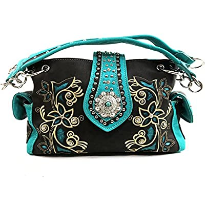 Justin West Embroidery Floral Turquoise Rhinestone Concho Laser Cut Tooled Leather Western Shoulder Concealed Carry Handbag Purse (Turquoise Dark Brown Purse)