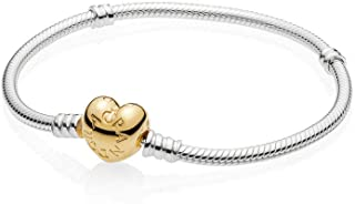 Moments 925 Sterling Silver Bracelet with 18k Gold Plated PANDORA Shine Heart Clasp Necklace - 560719