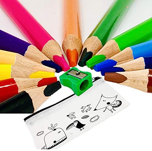 Buntstifte 12er Set + Spitzer inkl. Mäppchen Dicke Jumbo Buntstifte Kinder I Ergonomische Dreikant Holzbuntstifte maximale Bruchsicherheit lackiert mittelweich  Malen auf Holz + Papier