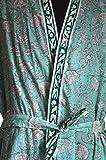 Handicraft Bazar r Langarm-Bademode, Kimino-Bikini-Überwurf, Dessous, Blumendruck, indischer Baumwoll-Blockdruck, Nachthemd, Nachtwäsche, Morgenmantel
