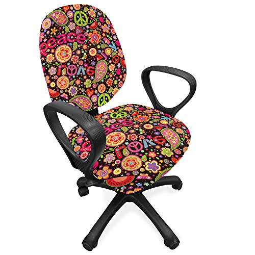 Ambesonne Groovy Office Chair Slipcover, Hippie Colorful Paisley Leaves Music Keys Typography Idealism Historic Revolution, Protective Stretch Decorative Fabric Cover, Standard Size, Magenta Black