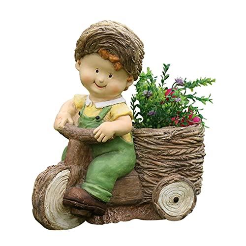 Estatua de jardín Adorno de jardín impermeable Adornos de jardín al aire libre, Esculturas creativas de resina para niños y niñas con macetas, Estatua de jardín para decoraciones de patio de c