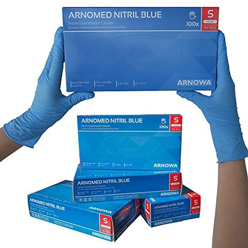 Nitrilhandschuhe puderfreie latexfreie blaue Einmalhandschuhe Größe S 100 Stück/Box ARNOMED Einweghandschuhe in gr. S M L XL