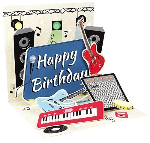 Pop Up 3D Geburtstag Grußkarte PopShot Musik Gitarre Plattenspieler 13x13cm