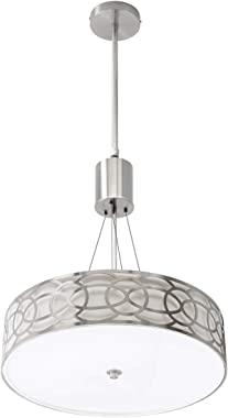"""Metal Drum Chandelier, 18"""" 3-Light, Pendant Light Fixtures, Modern Drum Ceiling Chandelier, with 3 X E26 Dimmable LED Blu"""