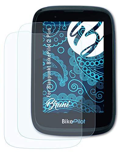 Bruni Schutzfolie kompatibel mit Blaupunkt BikePilot 2 Plus Folie, glasklare Bildschirmschutzfolie (2X)