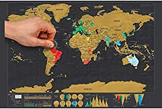 Personalized Black Scratch Off Art World Map Poster Decor Deluxe Poster Edition Travel