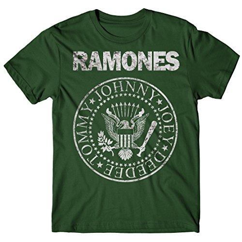 LaMAGLIERIA Camiseta Hombre Ramones - Grunge Print - T-Shirt Punk Rock Band 100% algodòn, XL, Verde