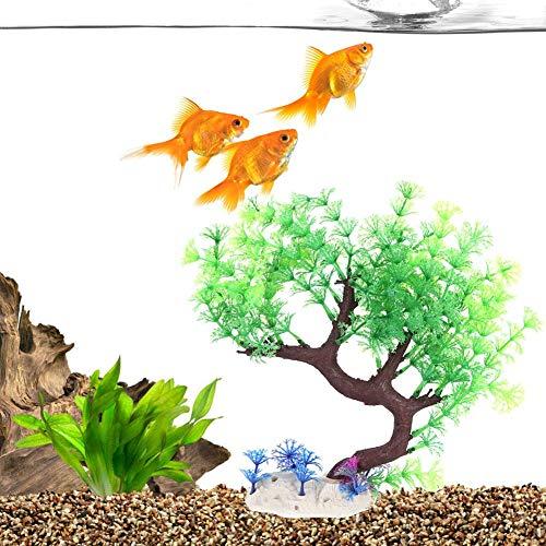 Decoração de aquário, aquário, planta de plástico artificial, curvada, árvore, acessório de decoração (árvore de baunilha verde)