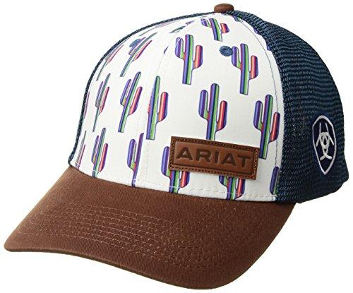 ARIAT Women's Serape Cactus Mesh Snap Cap, White/Blue, One Size