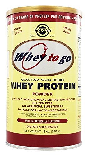 Whey To Go Protein Powder Natural Vanilla Flavor, Natural Vanilla Flavor 12 oz (Pack of 3) by Solgar
