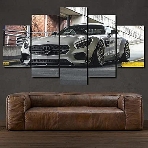 KOPASD Leinwand Wandkunst,bestehend aus 5 Elementen Mercedes AMG GT Sportwagen Fotodruck,moderner Giclée-Design,gespannt und gerahmt