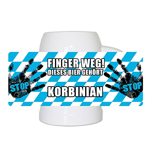 Lustiger Bierkrug mit Namen Korbinian und schönem Motiv Finger weg! Dieses Bier gehört Korbinian | Bier-Humpen | Bier-Seidel