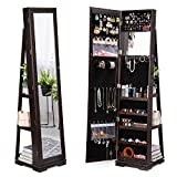 TWING Jewelry Organizer Jewelry Cabinet 360 Rotating, Lockable Standing Wall Jewelry Armoire with Full Length Mirror Large Jewelry Armoire Cabinet(Brown)