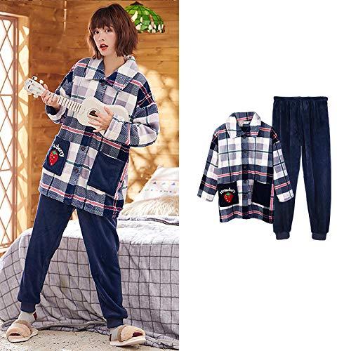 Bayrick Pijama de Mujer Conjunto de Pijama de Cardigan de Franela de otoño-L_3