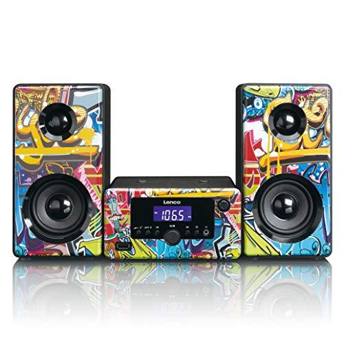 Lenco Stereoanlage MC-020 Kompaktanlage mit Bluetooth, USB und UKW-Radio (Weckfunktion, USB-Lader, Aux, Kopfhörerbuchse) 2 x 5 Watt (RMS), Tags