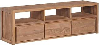 vidaXL Teca Mueble de TV Madera Maciza Acabado Natural 120x30x40cm Mobiliario