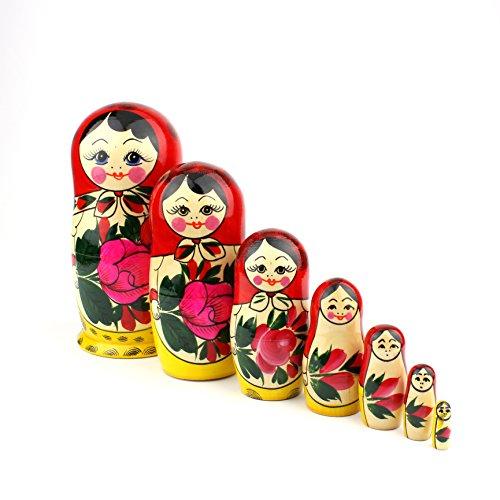Heka Naturals Poupées Gigognes Russes, 7 Poupées Matriochka Traditionnelles Semyonov Style Rouge | Jouet en Bois, Babouchka Fabriqué A La Main en Russie | Semyonov Rouge , 7 Pièces, 18 cm
