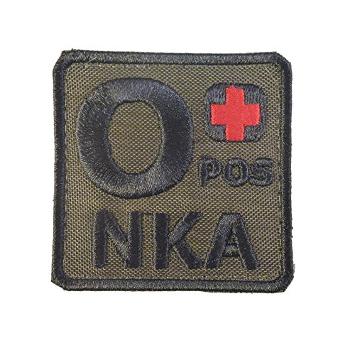 Olive Drab O POS O+ NKA Groupe Sanguin OD Embroidered Attache-boucle Écusson Patch