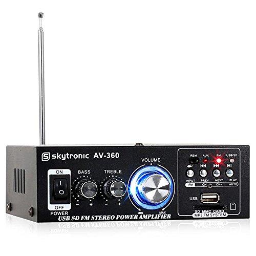 Skytronic AV-360 Amplificatore Hi Fi (80 Watt, ingressi RCA, AUX, USB e SD, sintonizzatore Radio FM) - Nero