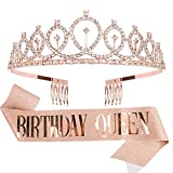 Tiara for Women Birthday, Happy Birthday Queen Tiara for Women, SUPOO Tiara for Women Birthday Queen Crowns with Birthday Girl Sash, Tiara for Women Rose Gold, Queen Crown with Tiara Crown Comb