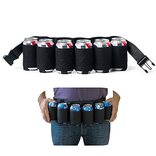 MUCHER Portable Trinker Bier Soda kann Gürtelhalter 6 Getränke für Camping Wandern Outdoor Party. (Schwarz)