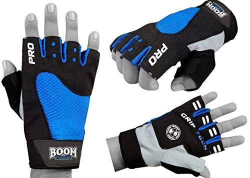 Boom Prime Gepolsterte Handschuhe ohne Finger aus Amara-Leder für Radsport, Gewichtstraining, Rollstuhlfahrer.