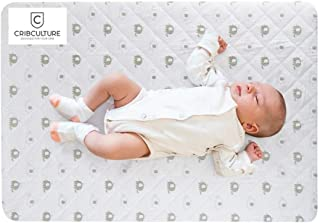 CribCulture Portable Mattress Pad Cover Protector – Elephant Pattern Designed to Fit Graco Pack N Play Mattress - Waterproof Fitted Padded Baby Playard Sheet, Play Yard Mattress Sheets for Mini Crib