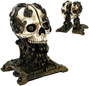 Steampunk Skull Bookends Collectible Figurine